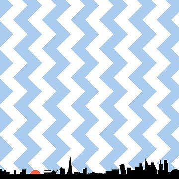 London Skyline Blue Zigzag by jezkemp