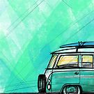 Camper Van Turquoise by yeomanscarart