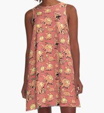 Chewster - Land Sharks - Orange Pattern A-Line Dress