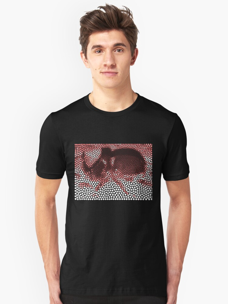 Rhinoceros beetle in white, pink, dark red, brown and black dots illustration  Unisex T-Shirt Front