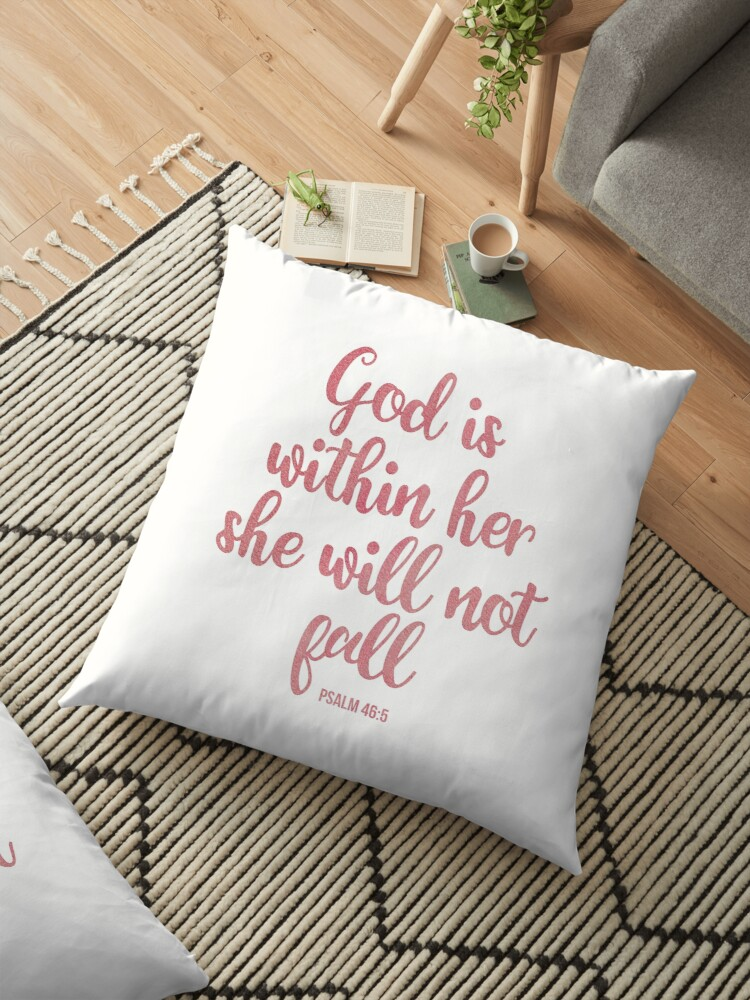 God is within her she will not fall - Christian quote - pink watercolor by ChristianStore