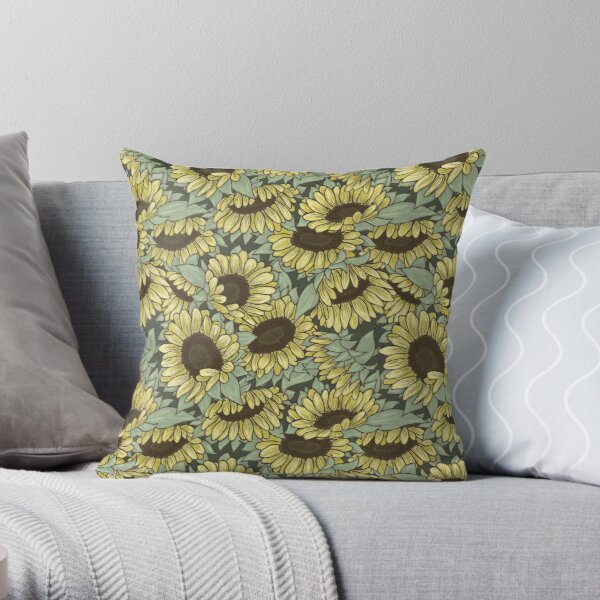 Sweet Sunflowers All Over Pattern Throw Pillow