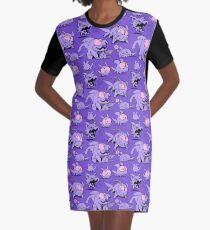 Chewster - Land Sharks - Purple Pattern Graphic T-Shirt Dress