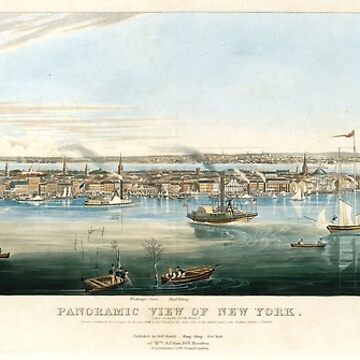 Vintage Panoramic Map of NYC (1844) by BravuraMedia