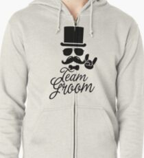 Funny Vintage Team Groom Bachelor Party Wedding Marriage Stag Do Gift Zipped Hoodie
