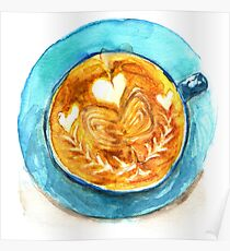 hearts and coffee Poster
