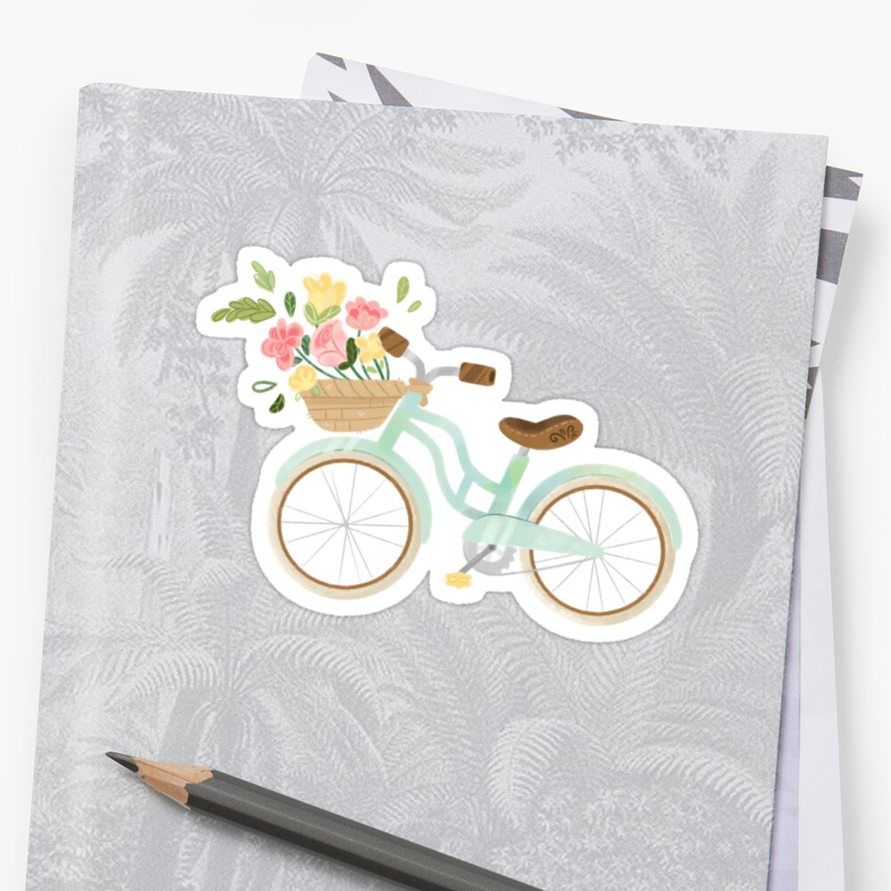 Bicycle Bouquet Sticker by MangoDoodles