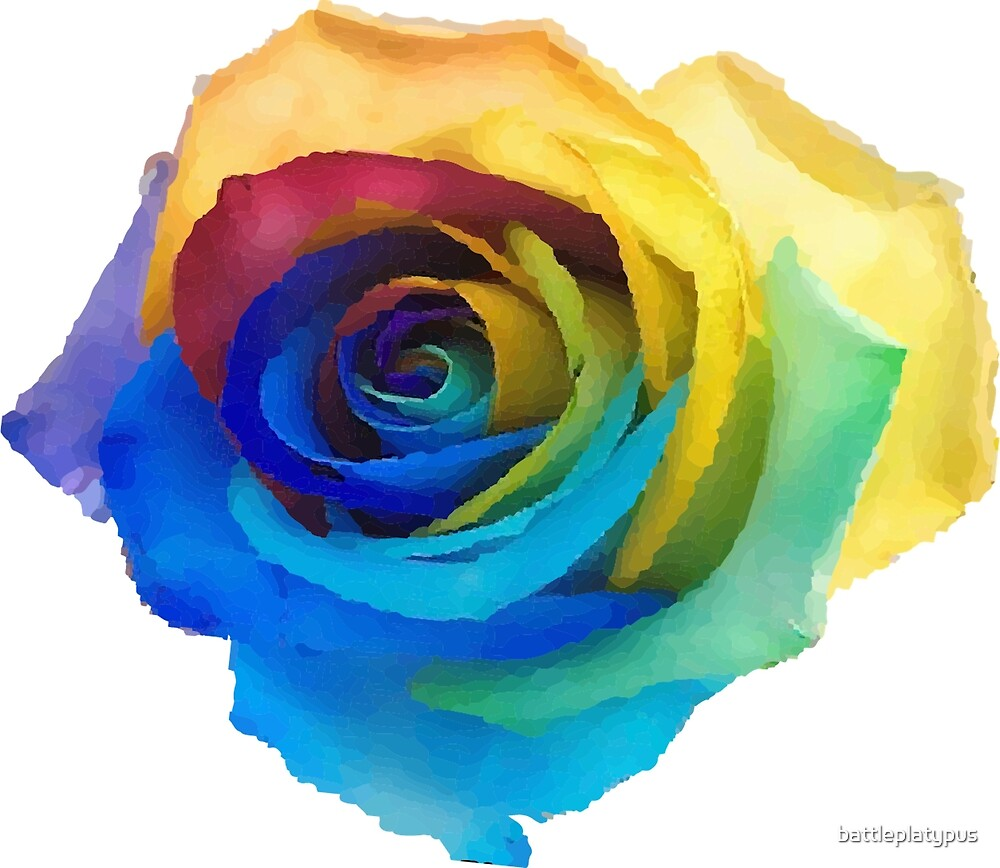 Rainbow Rose by battleplatypus