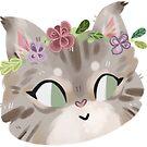 Flower Kitten Sticker by MangoDoodles