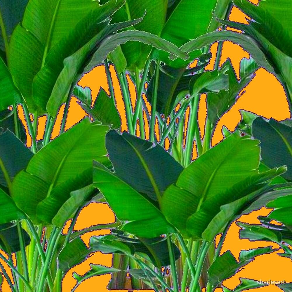 TROPICAL GREEN & GOLD FOLIAGE ART  by sharlesart