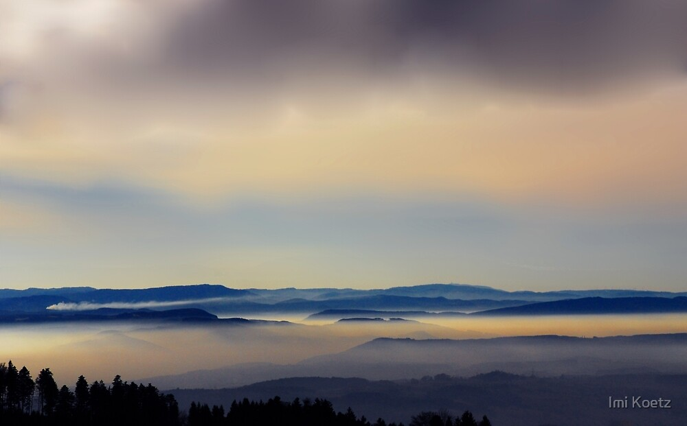 Sunset at the Vosges, seen from the Black Forest by Imi Koetz
