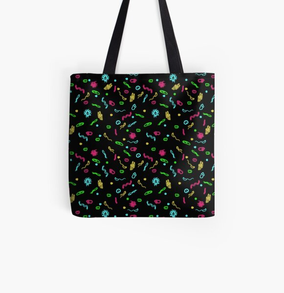 Fluorescent Microbes All Over Print Tote Bag