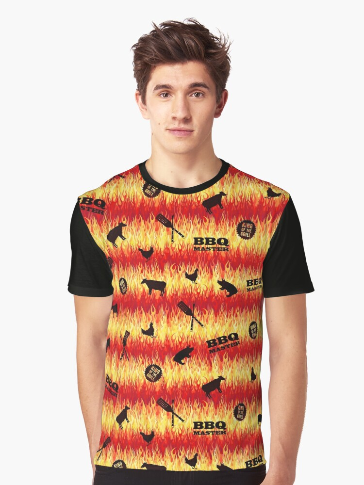 BBQ Master - King of the Grill - Flames Pattern Graphic T-Shirt Front