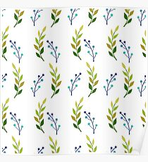 Seamless pattern illustration with beautiful flowers. Poster