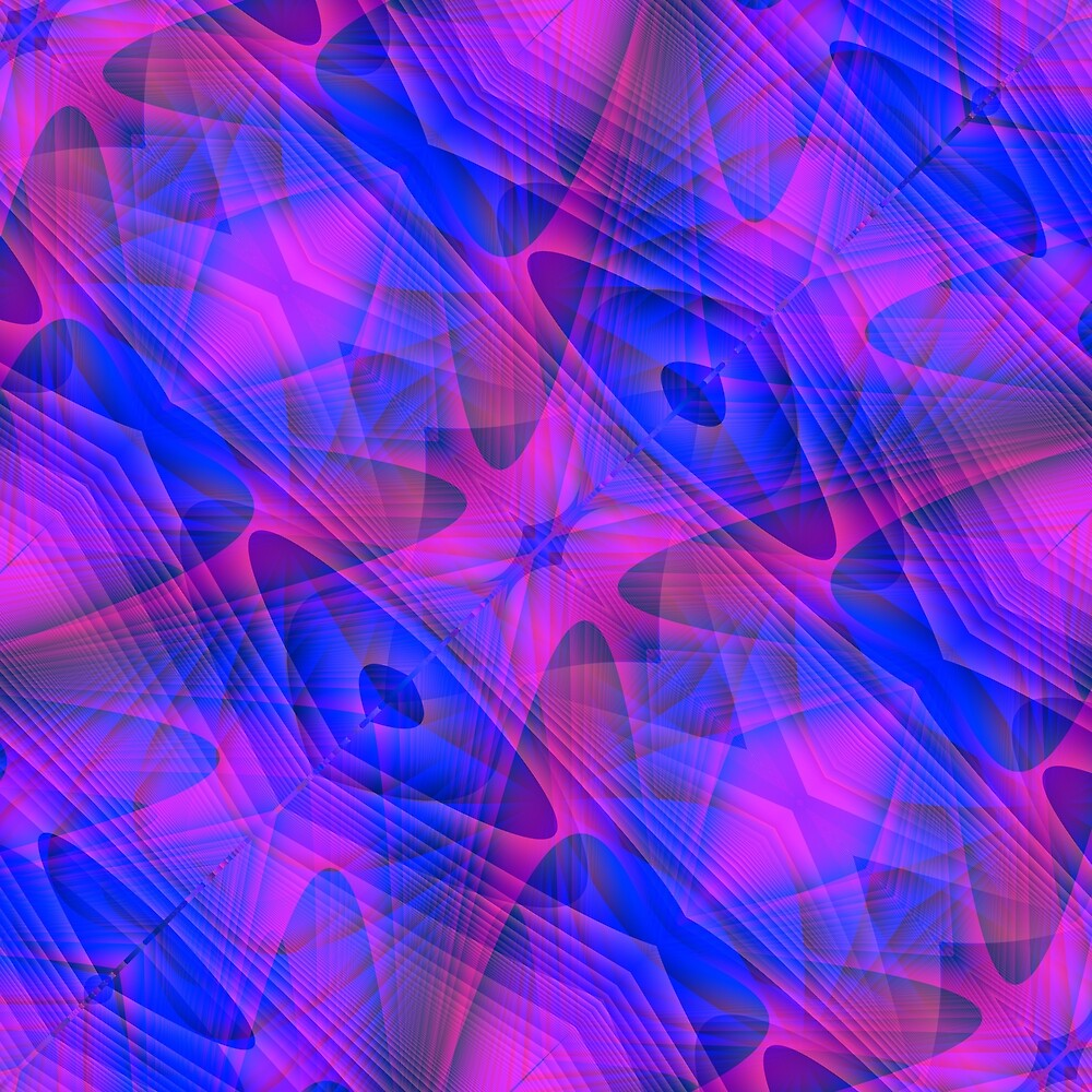 Blue and Purple Abstract Alien Geometry by tjustleft