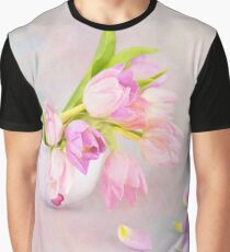 Pink & Purple Tulips And Tea Cup Graphic T-Shirt