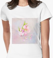 Pink & Purple Tulips And Tea Cup Women's Fitted T-Shirt