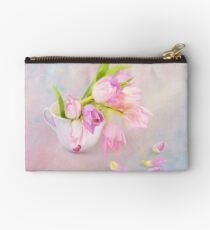 Pink & Purple Tulips And Tea Cup Studio Pouch
