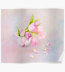 Pink & Purple Tulips And Tea Cup Poster
