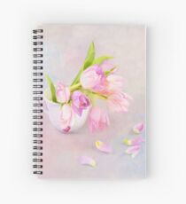 Pink & Purple Tulips And Tea Cup Spiral Notebook