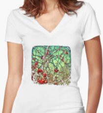 Blossom Frenzy - TTV Women's Fitted V-Neck T-Shirt