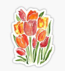 Orange Watercolor Tulips Sticker