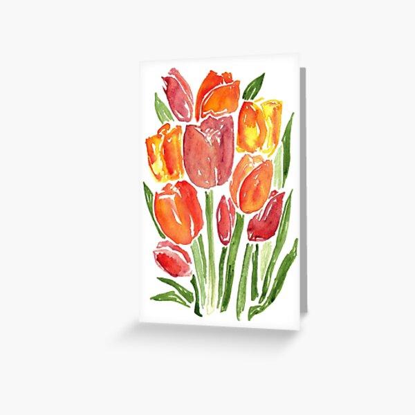 Orange Watercolor Tulips Greeting Card