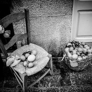 Fruit on Chair BW – Mallorca / Majorca by lesslinear
