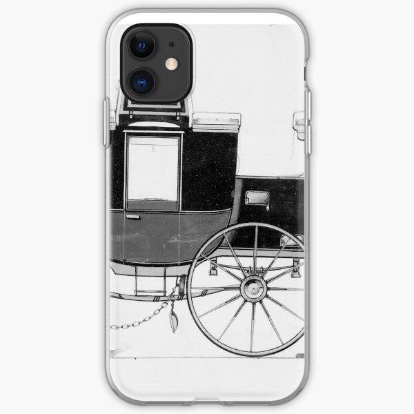 Vintage Horse Carriage Illustration (1877) iPhone Soft Case