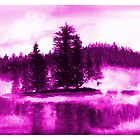 Lilac Misty lake watercolor landscape by DarinaDrawing