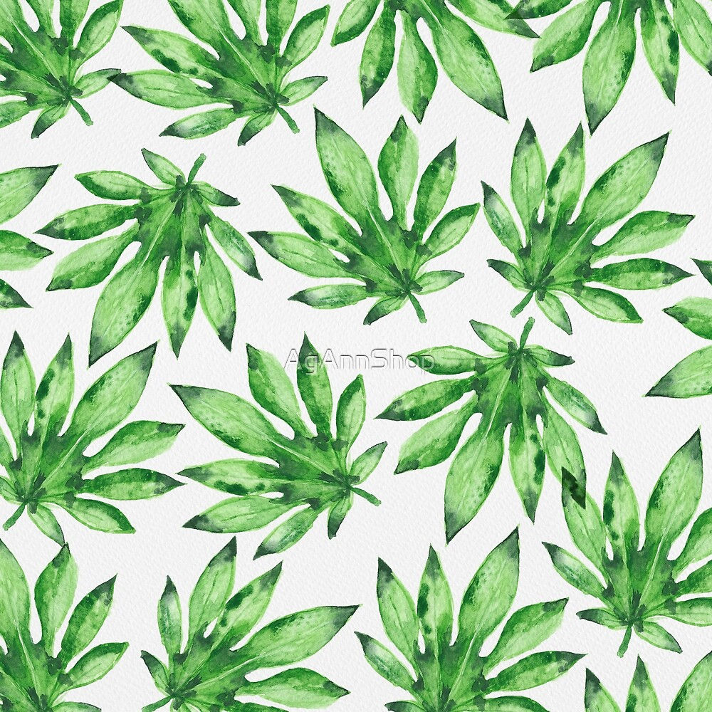 Green leaves tropical pattern by AgAnnShop