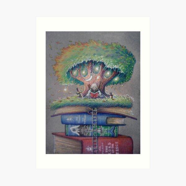 ILLUSTORY BOOK ELF Art Print