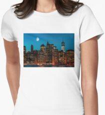 Manhattan at night Womens Fitted T-Shirt