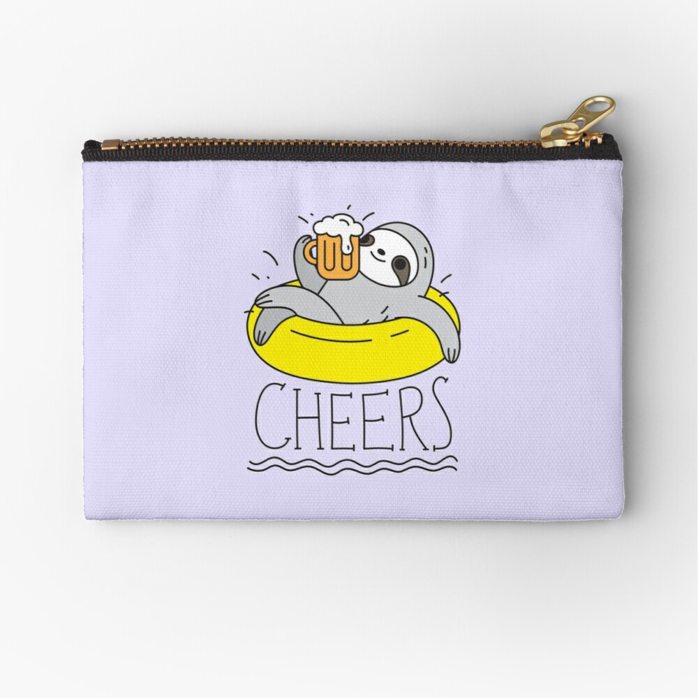 Beer Sloth  Zipper Pouch