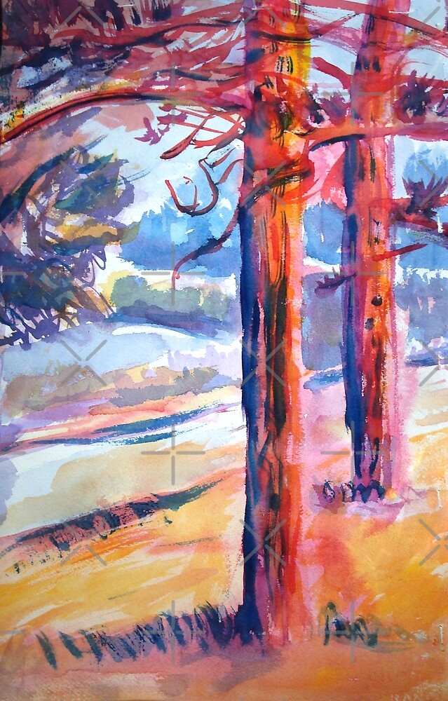 Watercolor Trees by KatieWalshArt