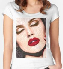 Love And Passion Portrait Of A Woman With Words Women's Fitted Scoop T-Shirt