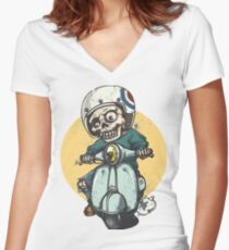 Skeleton riding a Motorbike t-shirt , unisex tshirt , tops and tees Women's Fitted V-Neck T-Shirt