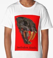 Smilodon fatalis, the Sabre Toothed Cat Long T-Shirt