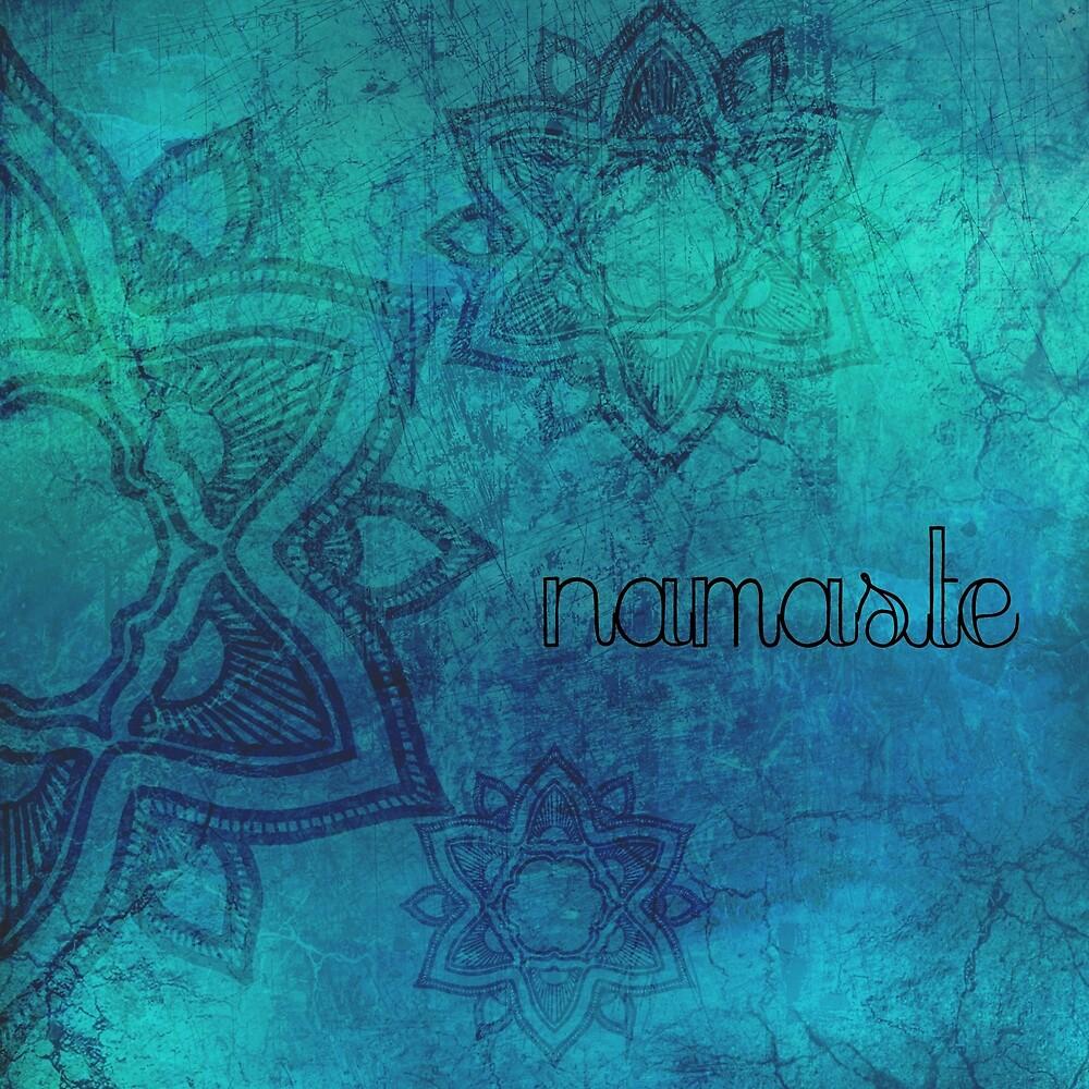 Distressed Turquoise Blue Mandala Namaste by imphavok