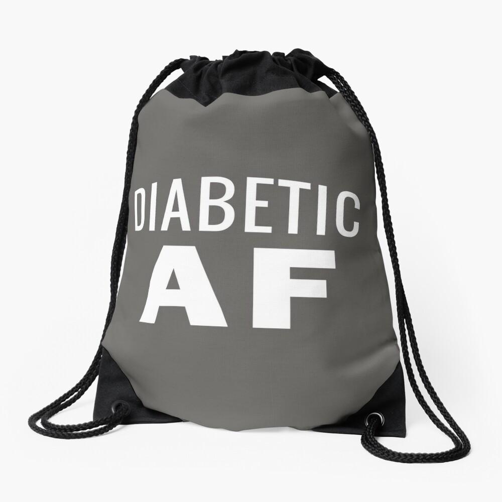 Diabetes Awareness T-Shirt - Diabetic AF Insulin Power Drawstring Bag