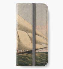 Vintage Illustration of a Schooner Sailboat (1867) iPhone Wallet/Case/Skin