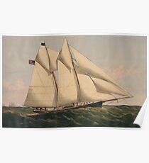 Vintage Illustration of a Schooner Sailboat (1867) Poster