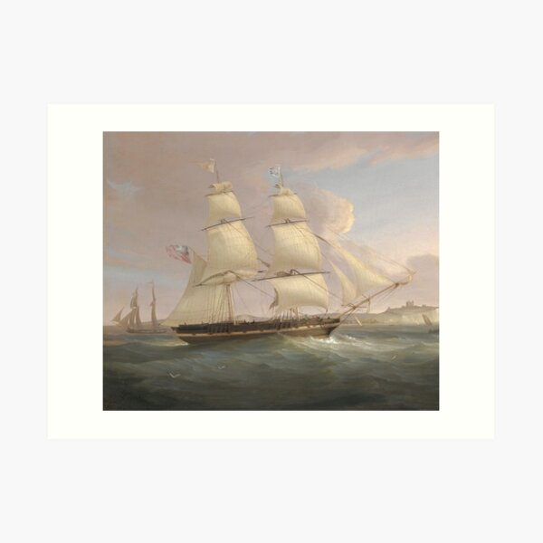 Vintage Fleet of Sailboats Painting (1845) Art Print