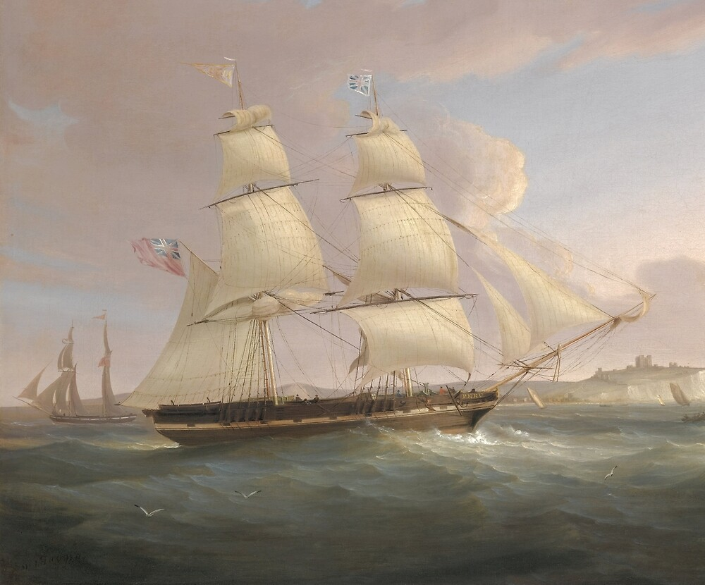 Vintage Fleet of Sailboats Painting (1845) by BravuraMedia