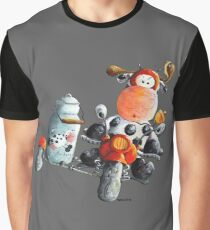 Funny Cow Rides A Red Motorbike Cartoon Graphic T-Shirt