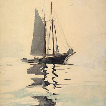 Vintage Schooner Sailboat Watercolor Painting (1894) by BravuraMedia