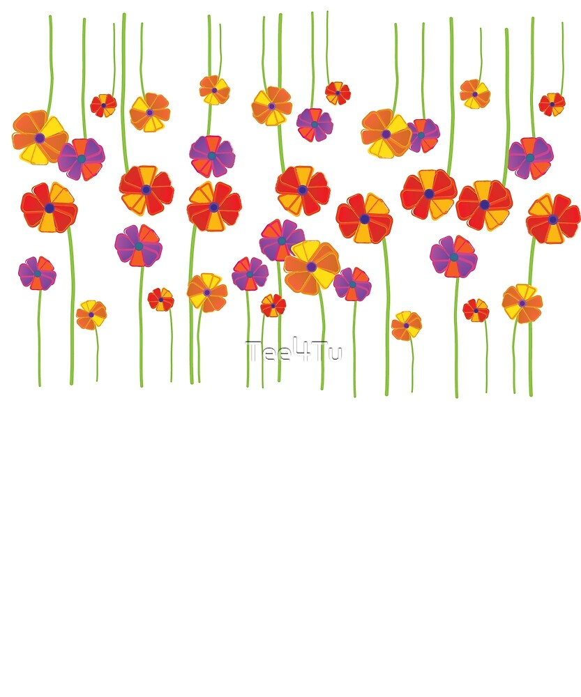 Patch of Multi Colored Flowers by Tee4Tu