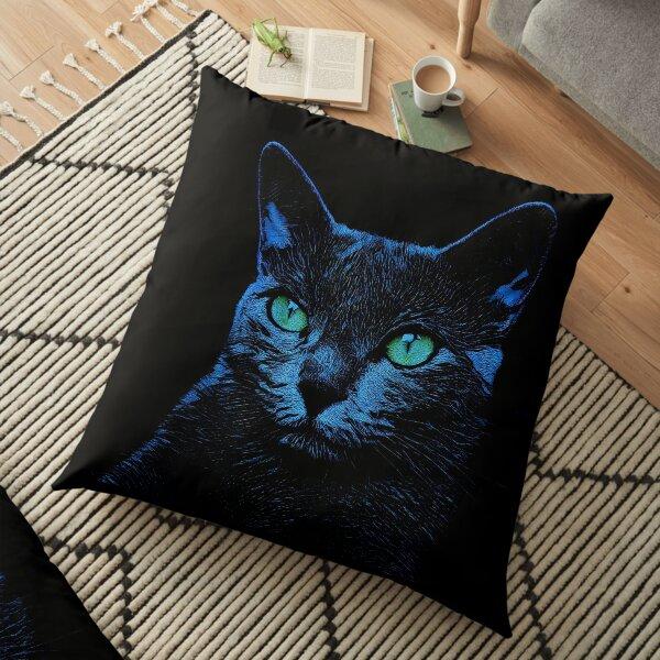BLUE CAT ON BLACK Bodenkissen