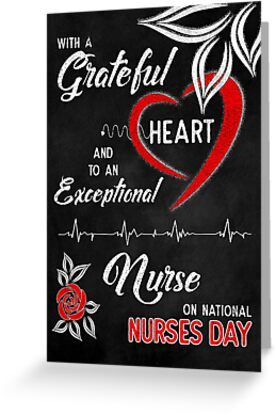 Nurses Day Grateful Heart Red and White Rose Chalkboard Theme by Doreen Erhardt