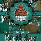 Birthday for Him Teal and Brown Urban Graffiti with Cupcake by Doreen Erhardt